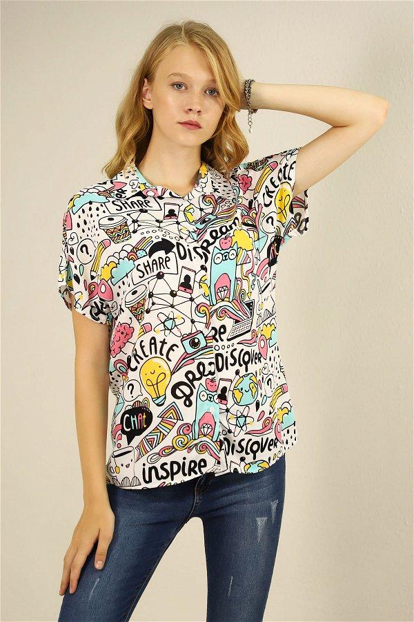 Desenli Gömlek BEYAZ-MİNT