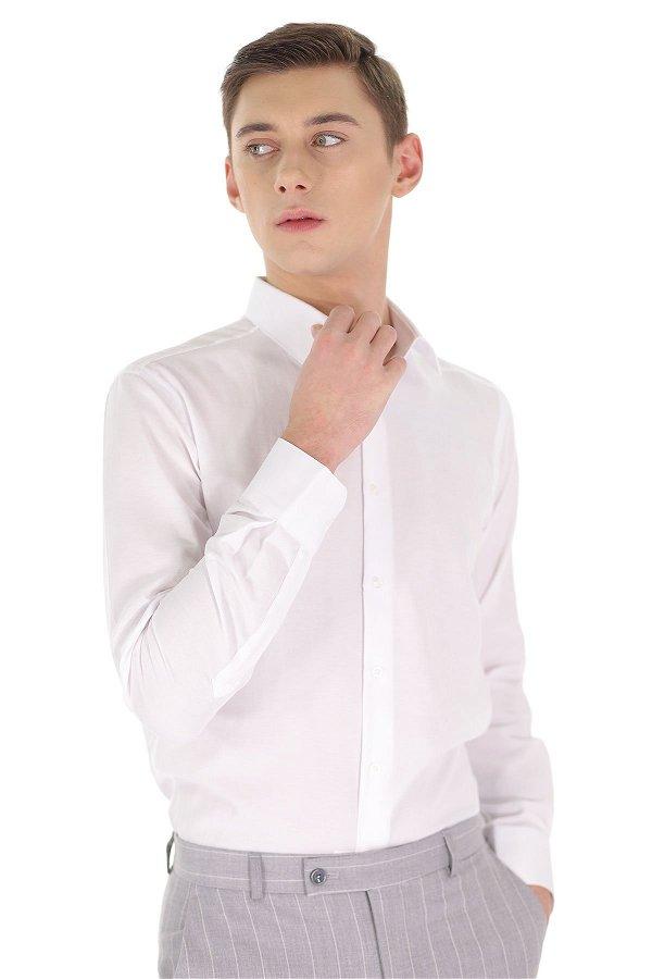 Desenli Pike Uzun Kol Gömlek Beyaz