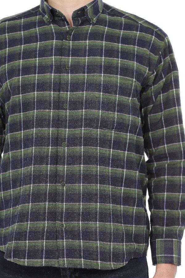 Desenli Pike Uzun Kol Gömlek YESİL