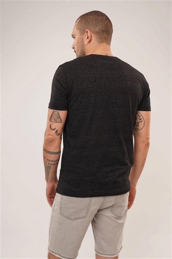Desenli T-shirt SIYAH