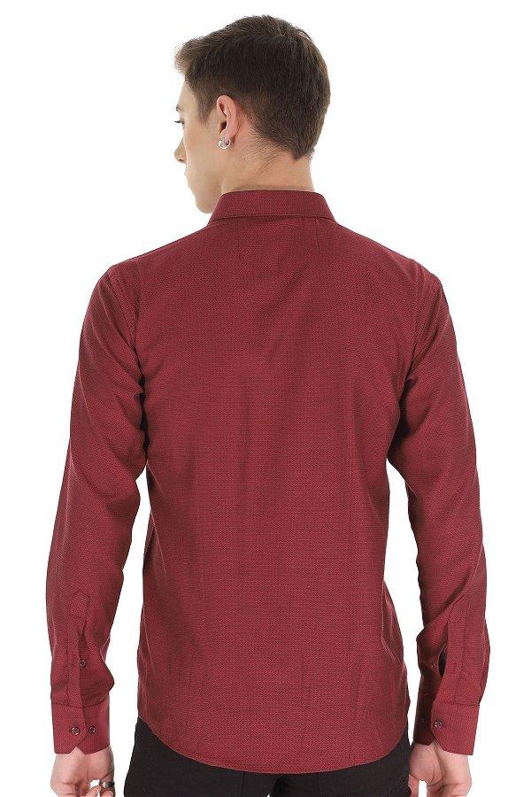 Desenli Uzun Kol Gömlek BORDO