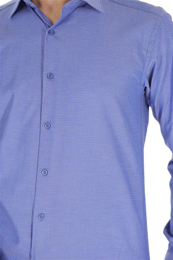 Desenli Uzun Kol Gömlek MAVI