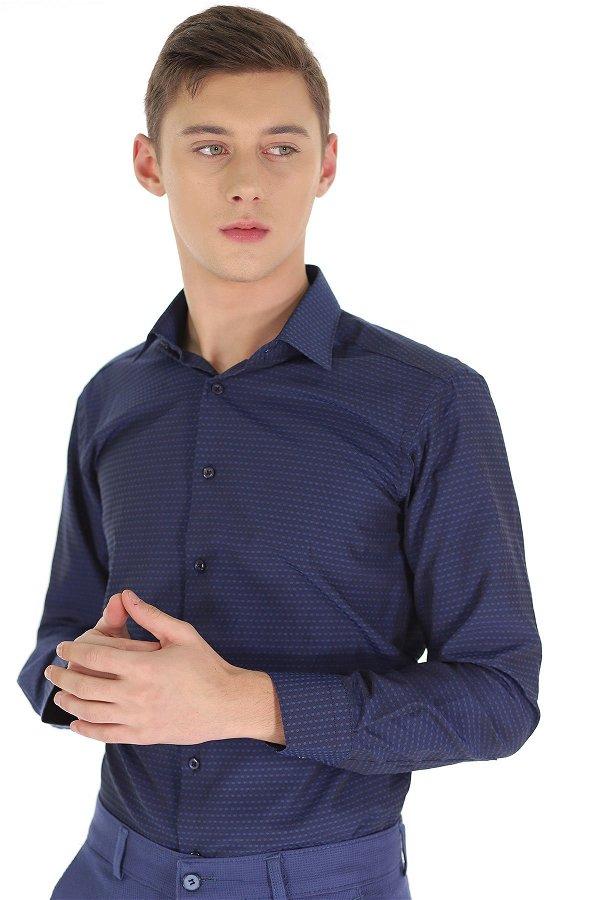 Desenli Uzun Kol Gömlek LACIVERT
