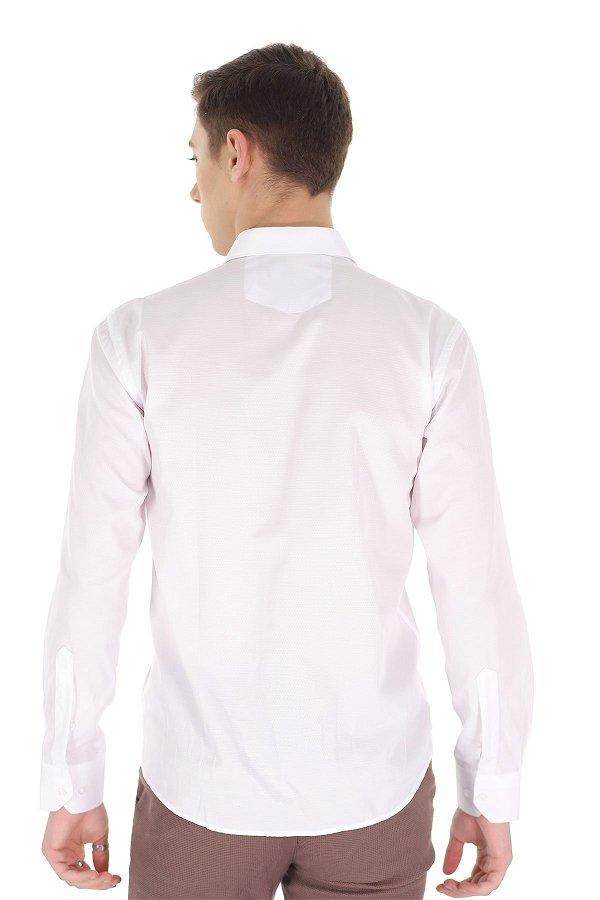 Desenli Uzun Kol Gömlek Beyaz