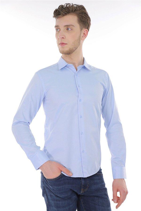 Desenli Uzun Kol Gömlek A.MAVI