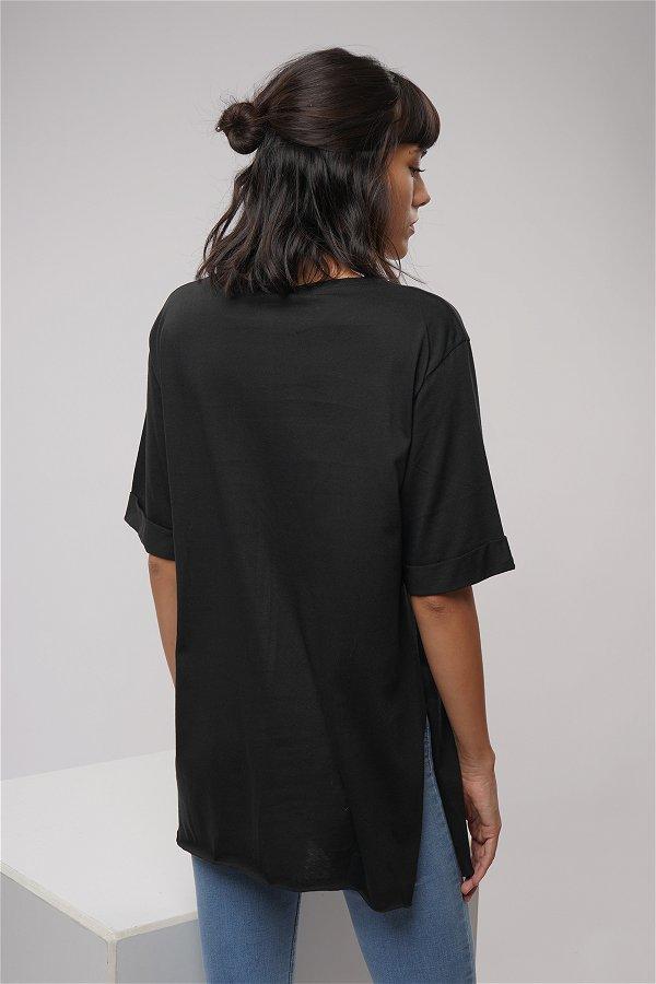 Baskılı Yan Yırtmaçlı T-shirt Siyah