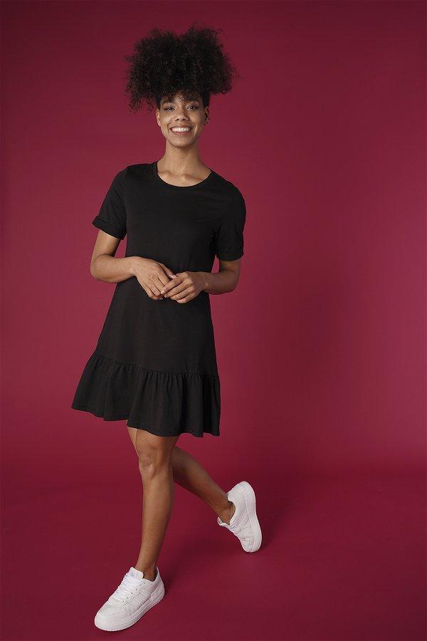 Duble Kol Fırfırlı Elbise SIYAH