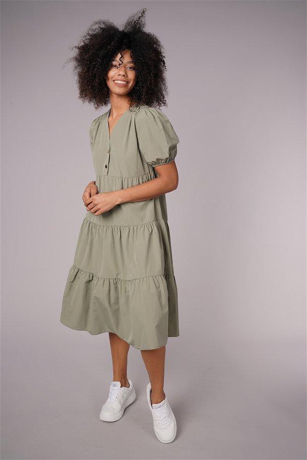 Düğme Detaylı Elbise HAKI