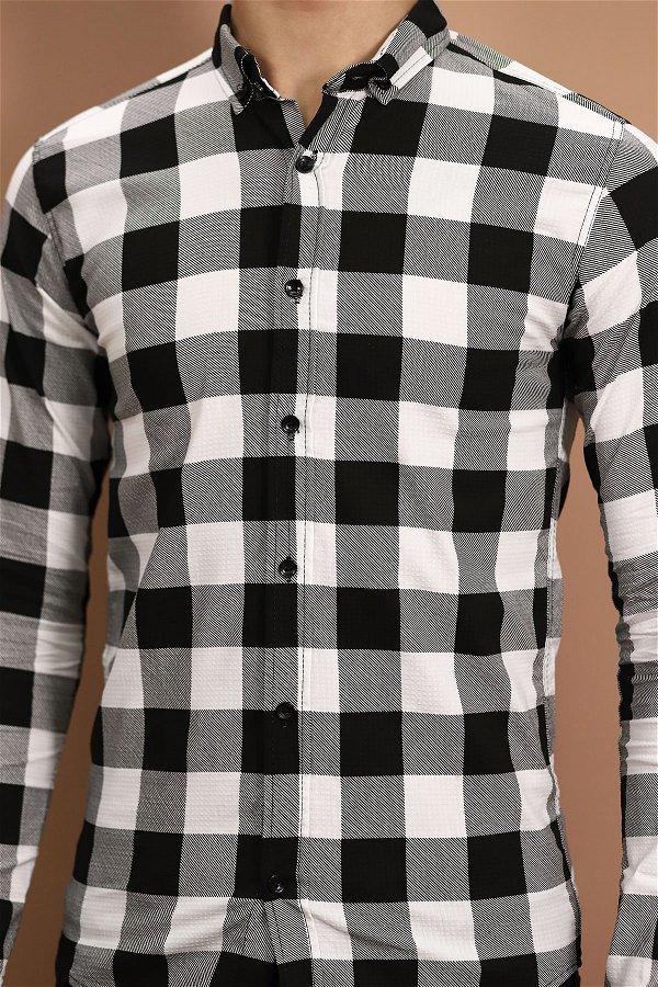 Ekose Gömlek  Beyaz