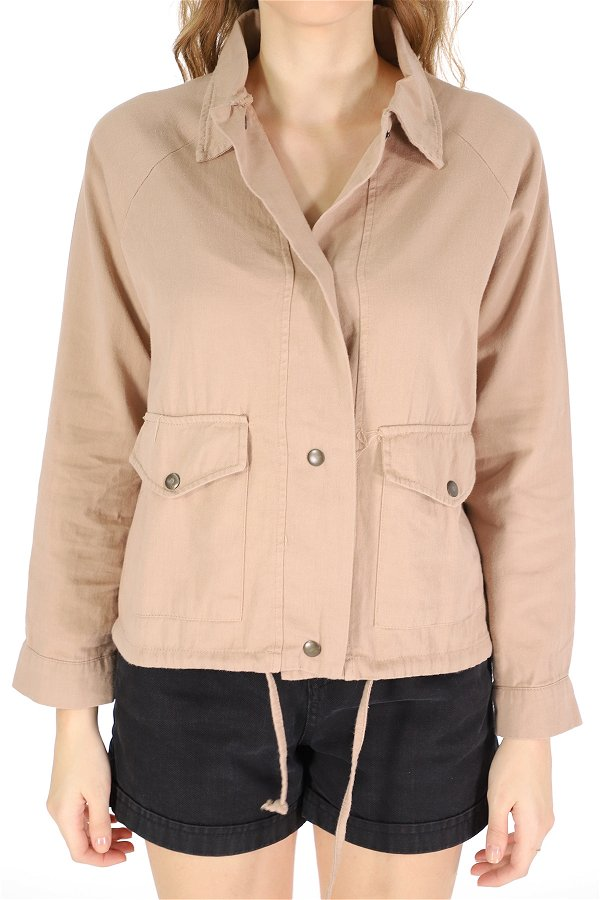 Eteği Bağcıklı Ceket BEJ