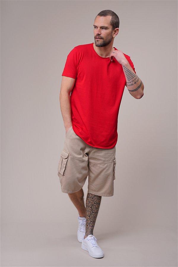 Bisiklet Yaka Biyeli T-shirt Kırmızı