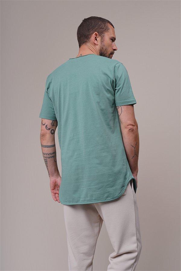 Bisiklet Yaka Biyeli T-shirt MINT