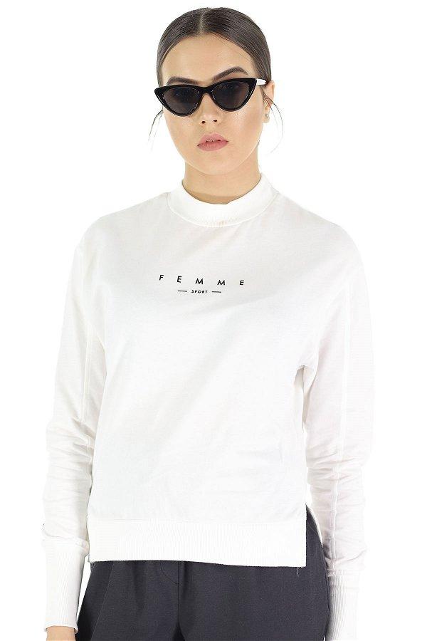 Femme Baskılı Kısa Sweat Beyaz