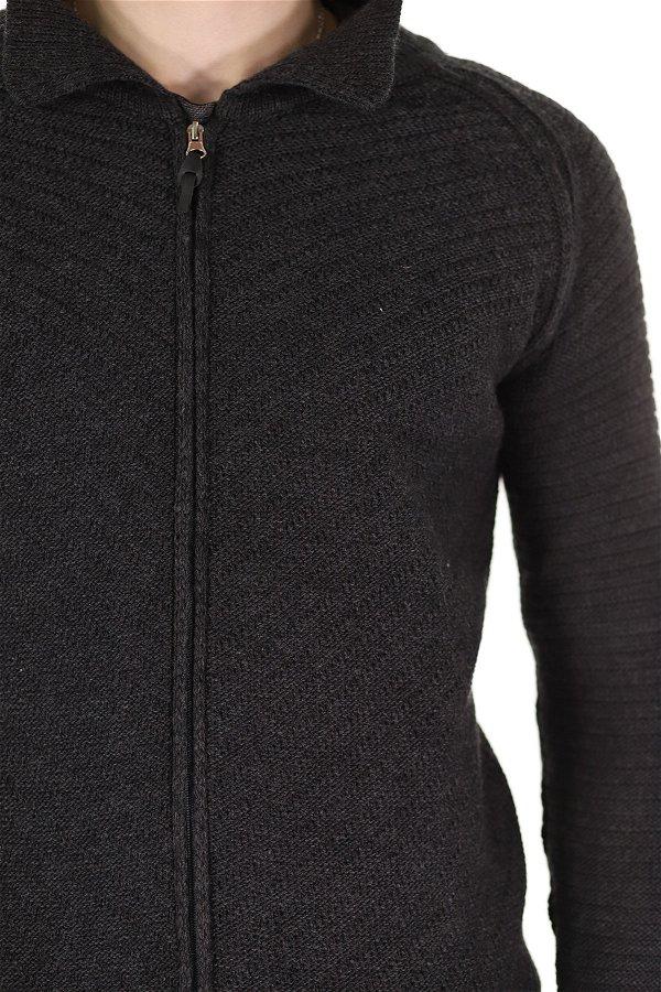 Fermuarlı Gömlek Yaka Hırka ANTRASIT