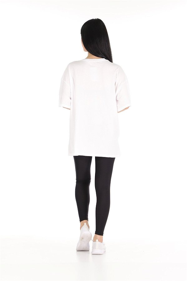 File Detaylı Tshirt Beyaz