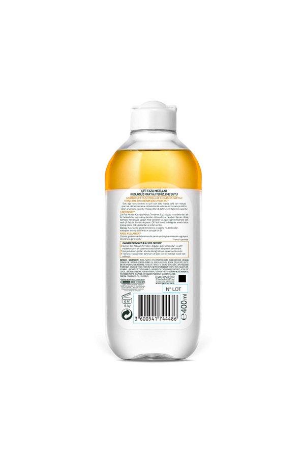 Garnier Çift Fazlı Micellar Kusursuz Makyaj Temizleme Suyu 400ML STD