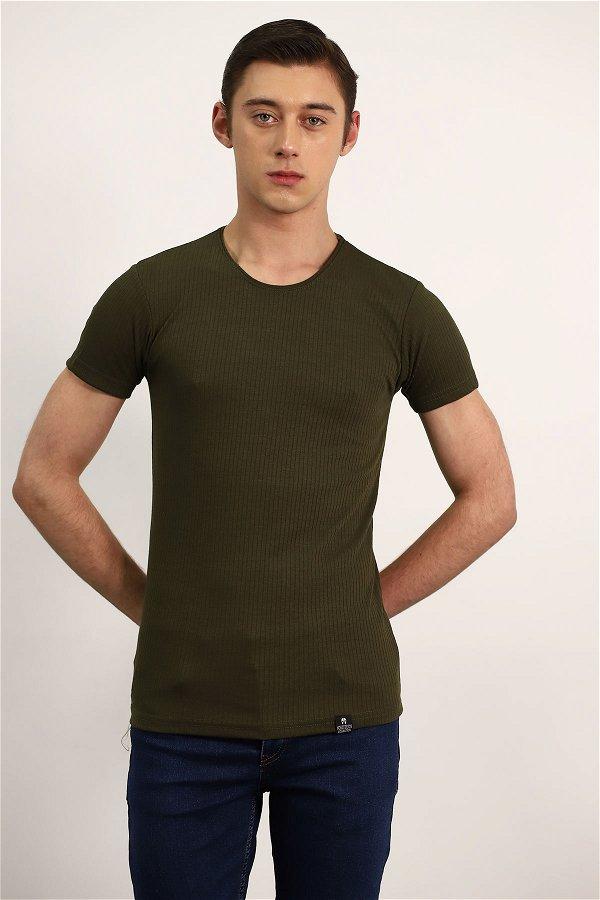 İnce Çizgili T-Shirt HAKI