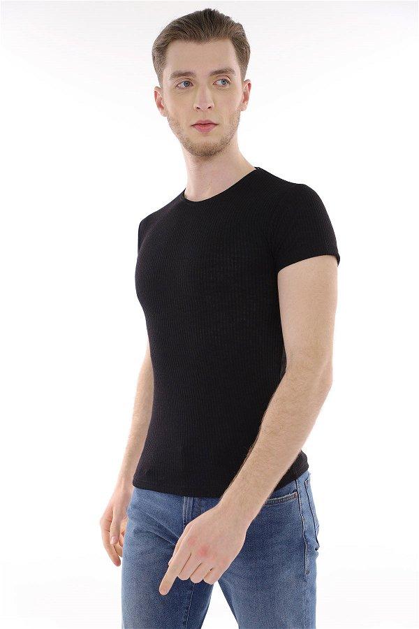 İnce Çizgili T-Shirt SIYAH