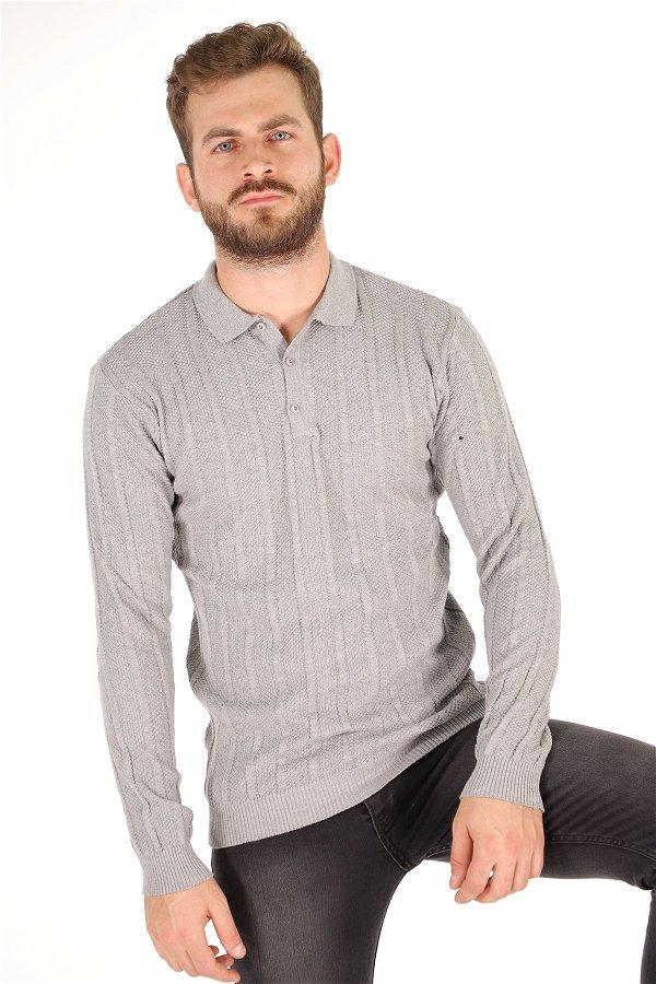 İnce Gömlek Yaka Kazak GRI