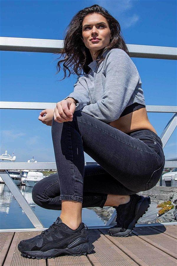 Jump Bağcıklı Kadın Spor Ayakkabı SIYAH