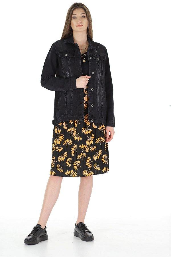 Kadın Kot Ceket SIYAH