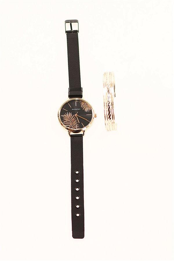 Kadın Saat Bileklik Set SIYAH