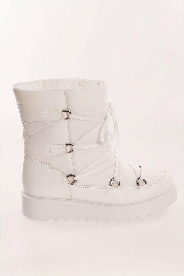 Bağcıklı Kar Botu Beyaz