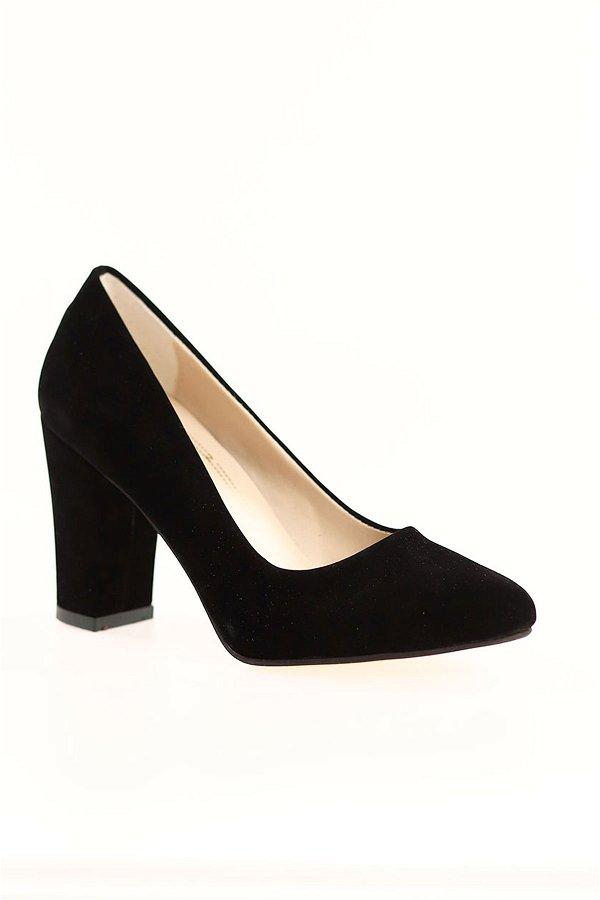 Kalın Topuklu Topuklu Ayakkabı SIYAH-SÜET