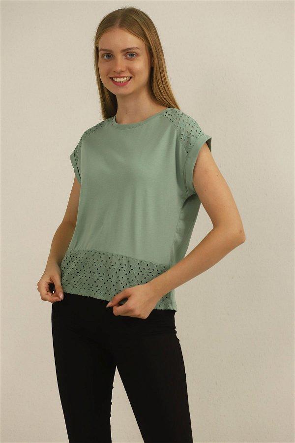 Dantel Detaylı T-shirt MİNT