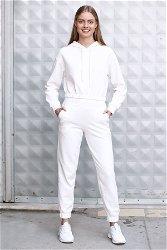 Kapüşonlu Bel Büzgülü Eşofman Takım Beyaz