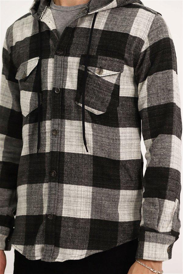 Kapüşonlu Ekose Gömlek ANTRASIT