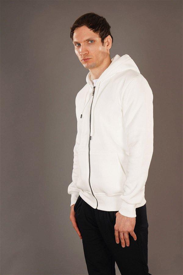 Kapüşonlu Fermuarlı Sweat Beyaz