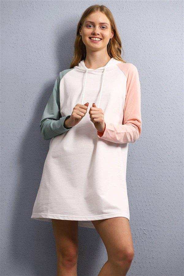 Renkli Kapüşonlu Tunik  Beyaz