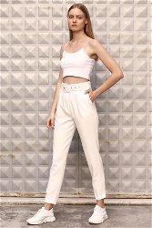 Kemerli Pantolon Beyaz