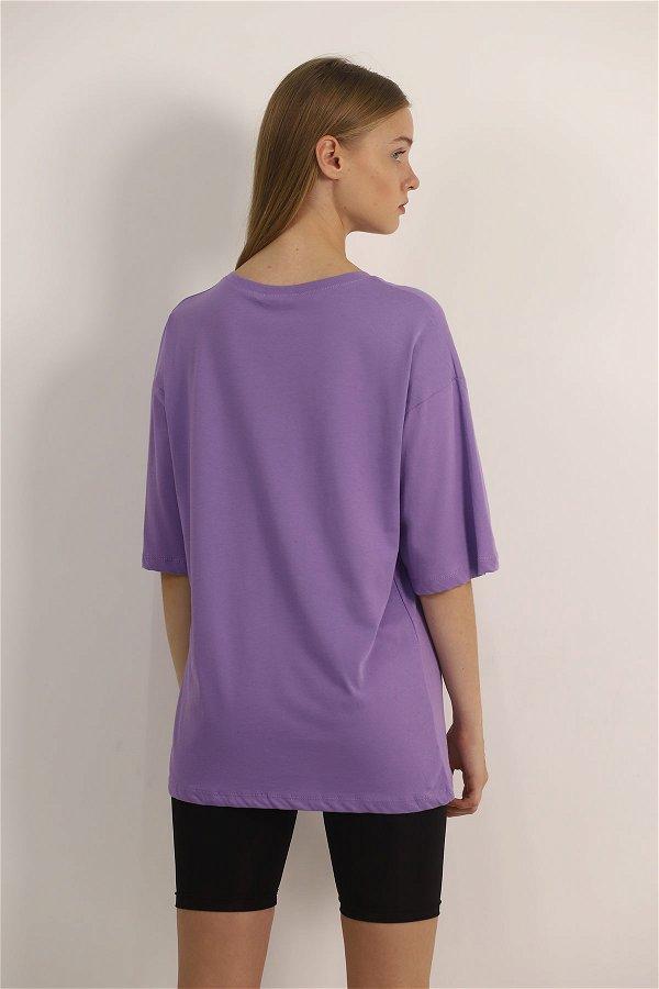 Kız Baskılı T-shirt lila