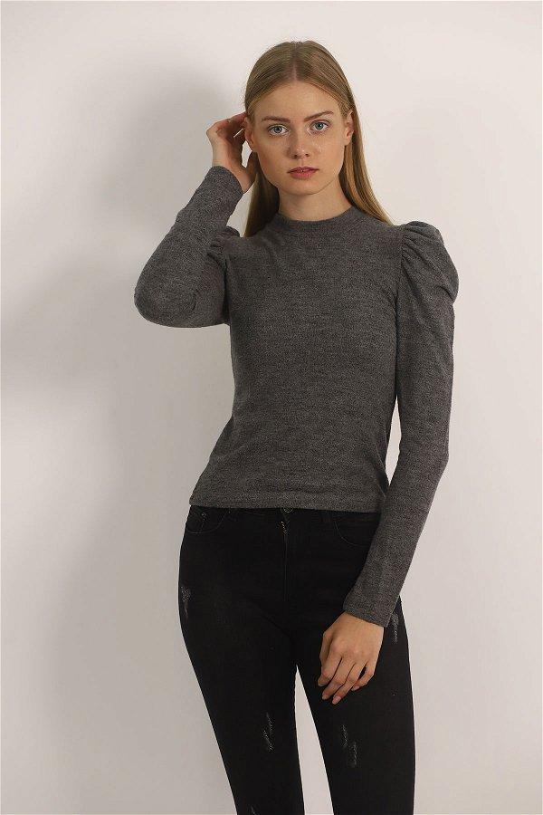 Kol Büzgülü Mini Bluz ANTRASIT