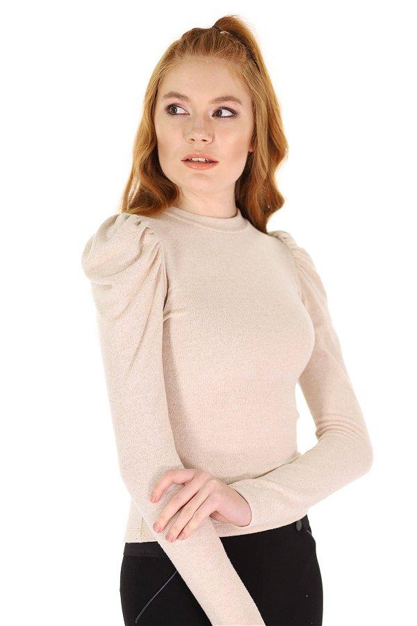Kol Büzgülü Mini Bluz BEJ