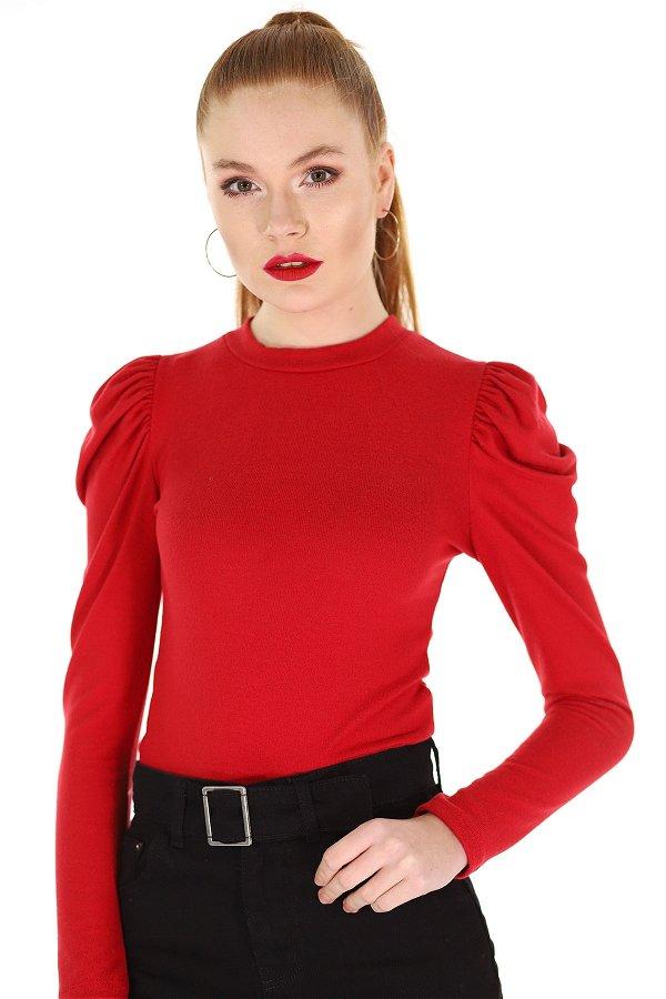 Kol Büzgülü Mini Bluz Kırmızı