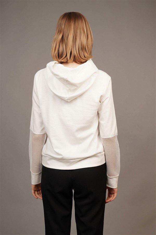 Kol File Detaylı Bluz Beyaz