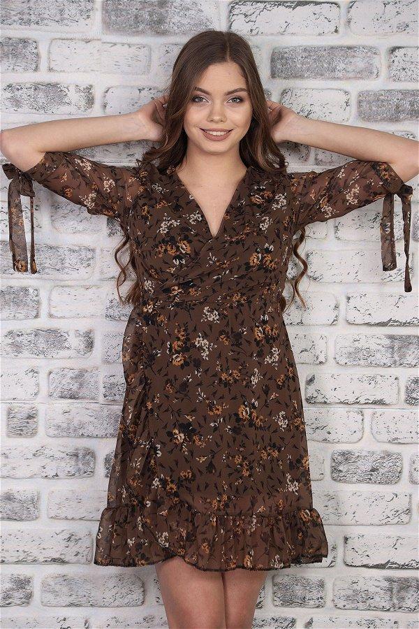 Kruvaze Yaka Deseli Elbise  HAKI