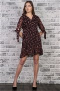 Kruvaze  Yaka Desenli Elbise SİYAH-PUDR