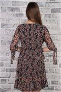 Kruvaze Yaka Desenli Elbise SIYAH-VIZO