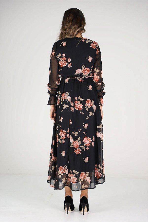 Kruvaze  Yaka Uzun Çiçekli Elbise  SIYAH