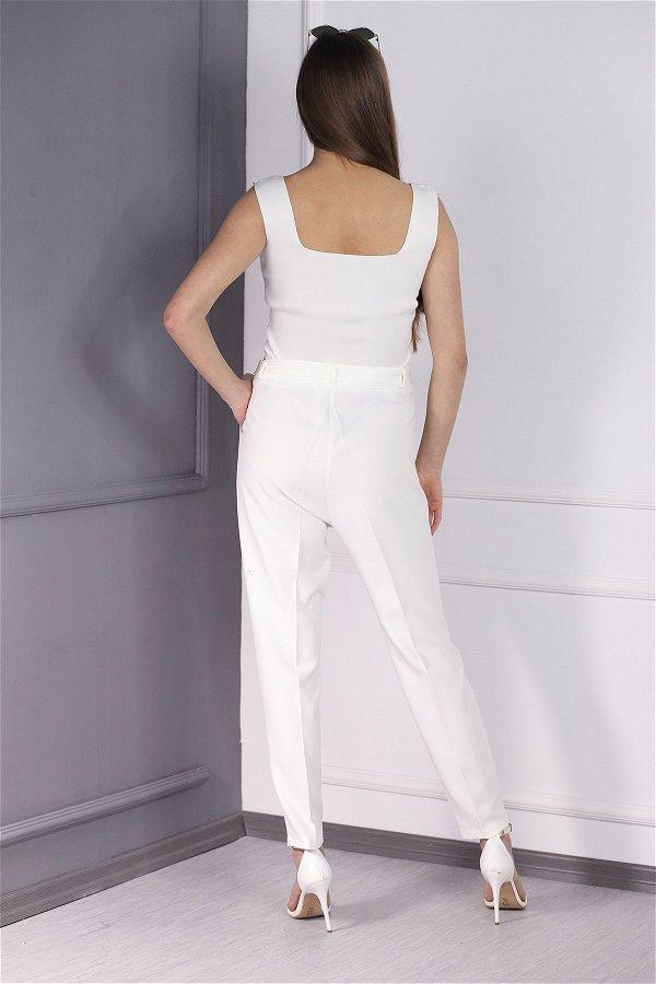 Kuşaklı Pantolon Beyaz