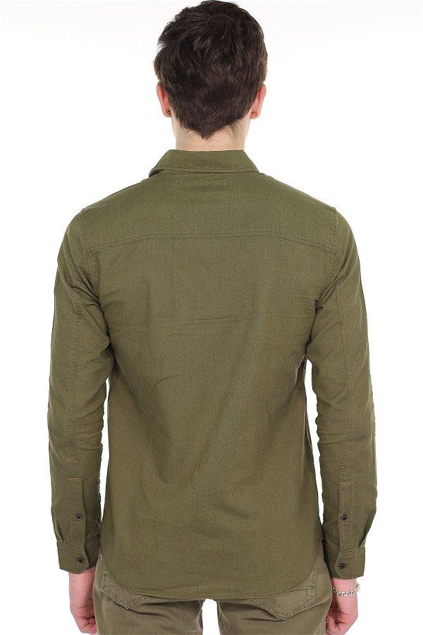 Mavi Armalı Uzun Kol Gömlek  STD