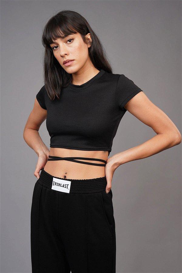Bel Bağlamalı Mini T-shirt SIYAH