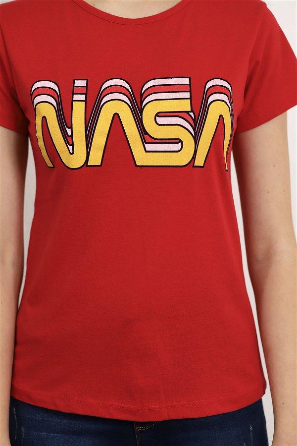 Nasa Baskılı T-shirt Kırmızı