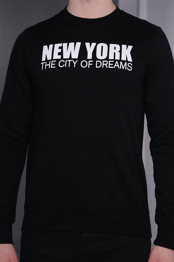 New York Baskılı Sweat SIYAH