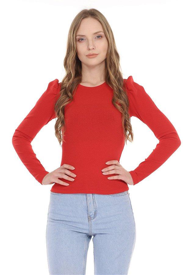 Omuz Büzgülü Bisiklet Yaka Bluz Kırmızı