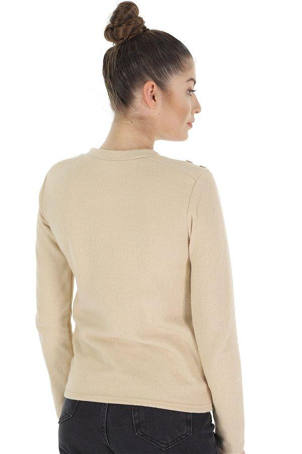 Omuz Düğmeli Bluz